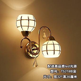 ... clásico chino de doble cabeza apliques de Salón Restaurante Corredor Escalera Dormitorio T5218B lámpara de mesilla bombillas LED: Amazon.es: Iluminación