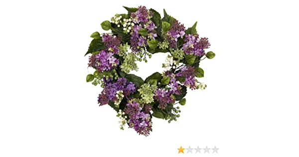 Nearly Natural 4786 Hanel Lilac Wreath 20-Inch Purple//Pink//Green