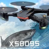 Dirance Upgrade VISUO XS809HW 2.4G Selfie RC Quadcopter Drone, WIFI Wide-Angle 2MP Camera Helicopter, Headless Mode & Attitude Hold & One Key Return (Black)