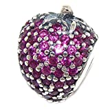 Pro Jewelry 925 Solid Sterling Silver Red CZ Strawberry Charm Bead