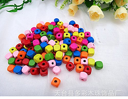 Wooden square Loose Beads 10mm 60pcs-mixed Color