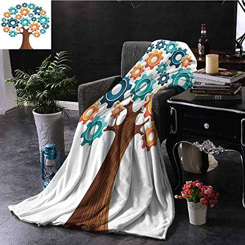 GGACEN Plush Blanket Innovation Gears Concept Tree System of Nature Cooperation Start Up Modern Graphic Comfortable Soft Material,give You Great Sleep 60