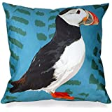 Puffin Cushion by Leslie Gerry by Leslie Gerry