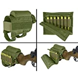#7: MATE Portable Adjustable Tactical Rifle Buttstock Shell Holder Cheek Rest Pouch Holder Pack With Ammo Carrier Case Green