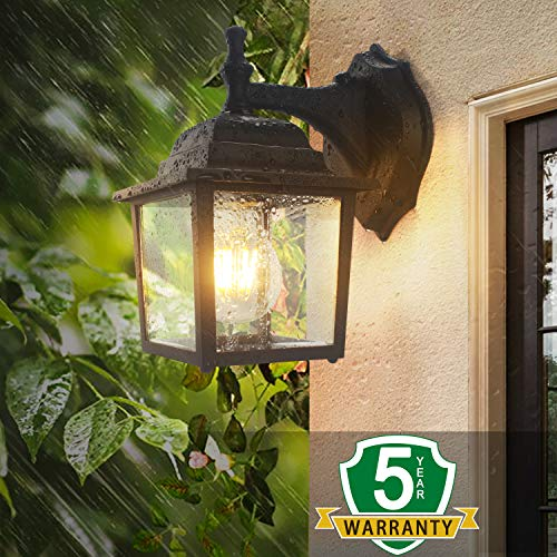 (Sensor Outdoor Wall Lanterns, Lamomo Wall Sconce Porch Light Fixture with E26 6W Light Bulb, UL Listed Anti-Rust Waterproof Black Lamp Exterior Wall Light Fixtures for Garden, Hallway,)