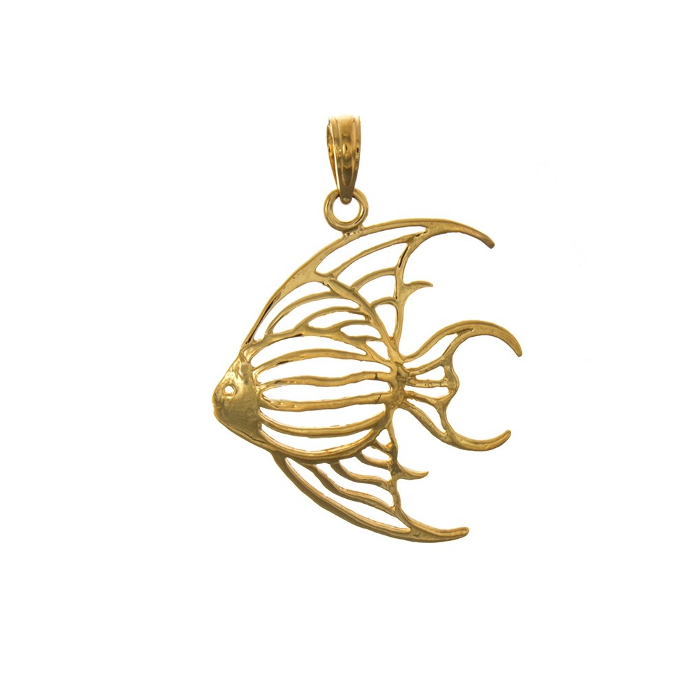 14k Yellow Gold Nautical Charm Pendant, Angelfish, Cut-Out by Million Charms