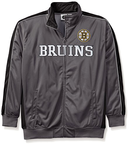 NHL Boston Bruins Men's Reflective Track Jacket, 4X, Charcoal/Black