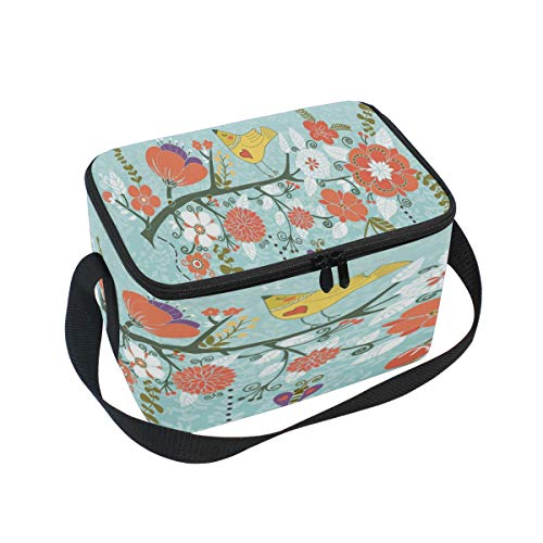 - Blossom Branch Bird Spring Insulated Lunch Bag Tote Animal Cages Lunchbox Handbag Portable for Women Adult Nurse Students Kids Girls School Office Picnic Work