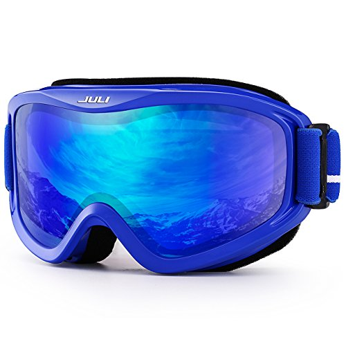 JULI OTG Ski Goggles-Over Glasses Ski / Snowboard Goggles for Men, Women & Youth - 100% UV Protection Anti-fog Dual Lens(Blue Frame+14%VLT REVO Blue - Glasses Youth Prescription