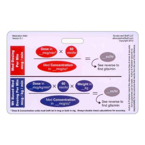 Medication Math Drip Titration Horizontal Badge ID Card Pocket Reference Guide