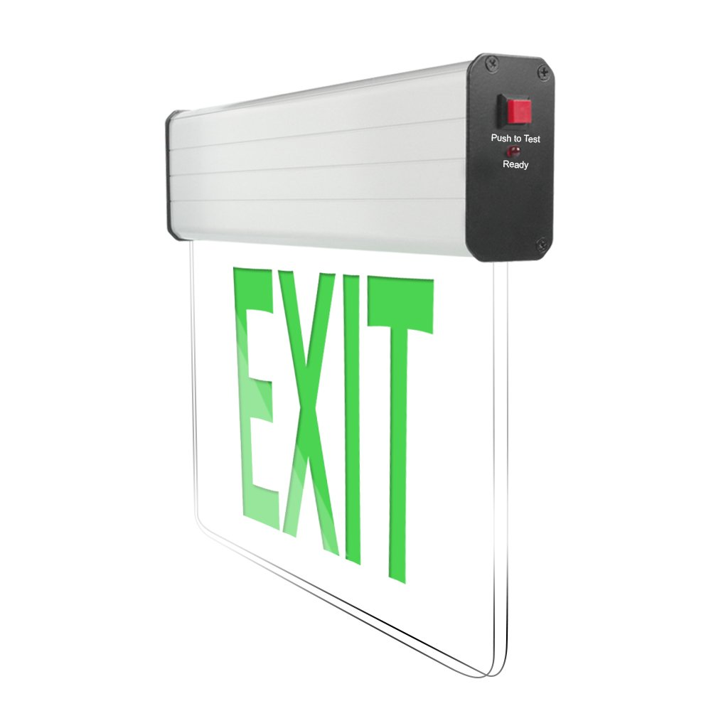 eTopLighting [1 Pack] Edge Lit Exit Sign LED Light Panel, Green Lettering, Battery Backup, Transparent See Through, Mount on Wall and Ceiling, Rotary Surface Mounting, AGG2133