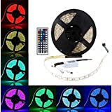 RioRand 16.4FT SMD 5050 Waterproof 300LEDs RGB Flexible LED Strip Light Lamp Kit + 44Key IR Remote Controller Color RGB (Without power adapter)