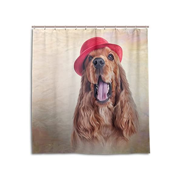 ALAZA English Cocker Spaniel Dog Shower Curtain 72 x 72 Inch Waterproof Polyester Decoration Bathroom Curtain with Hooks 1
