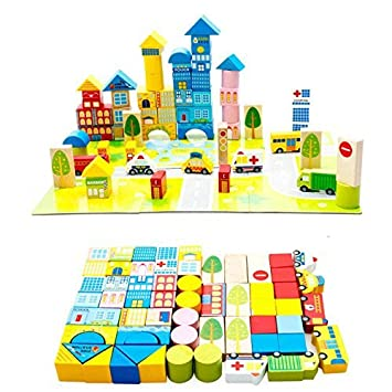 Kid/'s Smart City Blocks For Educational Building With Stick Multicolor W
