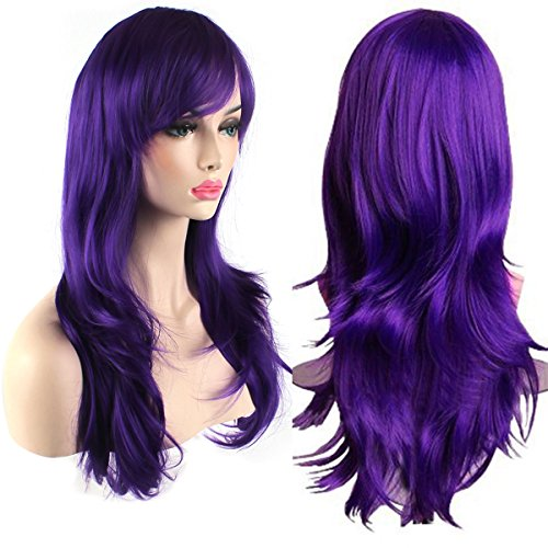 [AKStore Women's Heat Resistant 28-Inch 70cm Long Curly Hair Wig with Wig Cap, Purple] (Purple Wig Costumes)