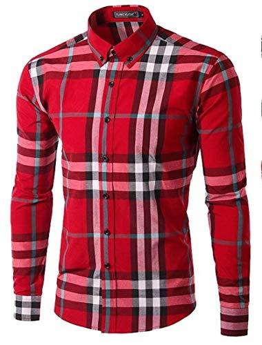 M&S&W Men's Basic Cotton Standard-Fit Long-Sleeve Plaid Oxford Shirt Red L