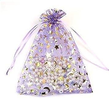 bijoux Pochettes pour mariage trame lune Star des confettis cadeaux Lot 15 Sacs Organza 17 cm x 23 cm de couleur : Violet clair