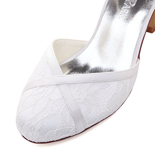A Tacchi Hc1802 Tacco Punta Donna Straps Pizzo Scarpe Elegantpark Da Bianco Fibbia Chiusa Blocco Sposa XTwFdq