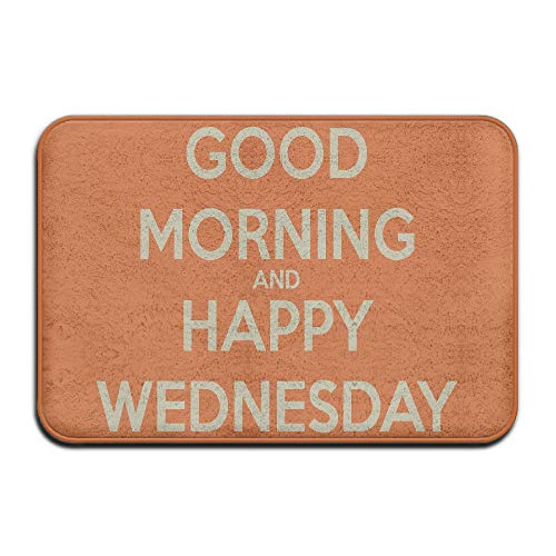 """qingqing-us Doormats Outdoor Welcome with Quotes Good Morning and Happy Wednesday Have A Good Day Inside Or Outside Doormats for Front Door Beautify Environment 23.6""""(L) x 15.7""""(W)"""