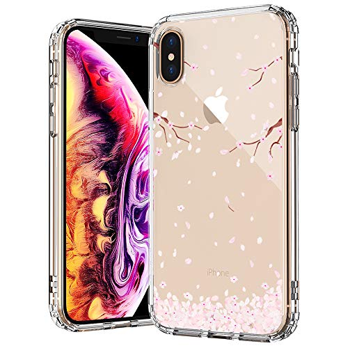 MOSNOVO iPhone Xs MAX Case, Clear iPhone Xs MAX Case, Cherry Blossom Floral Flower Pattern Printed Clear Design Transparent Back Case with TPU Bumper Case Cover for iPhone Xs ()