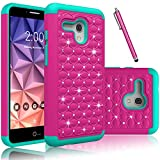 Fierce XL Case, OneTouch Flint Case, EC™ Hybrid [Dual Layer] [Drop Protection] Studded Rhinestone Crystal Bling Protective Case Cover For Alcatel OneTouch Fierce XL/Pixi Glory 4G LTE(Rose+Teal)