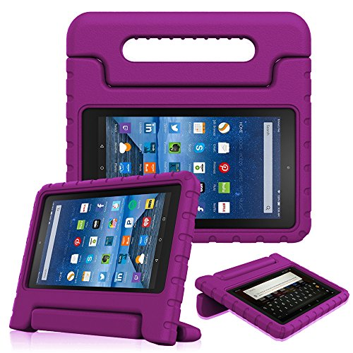 Fintie Shock Proof Case for All-New Amazon Fire 7 Tablet (7th Gen, 2017) - Kiddie Series Light Weight Convertible Handle Stand Kids Friendly Cover, compatible with Fire 7 (5th Gen, 2015), Purple