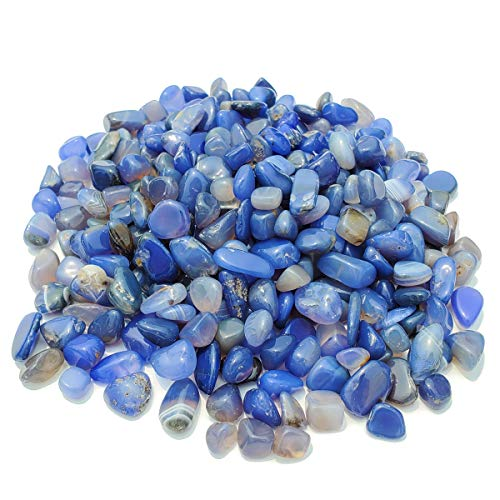 SACKORANGE 0.9 Lb/400g Aquarium Gravel Gem.Agate Stone Tumbled Stones for Plants Cacti & Succulents Bedding, Vase Filler, Landscape Bottom Decoration (Blue)