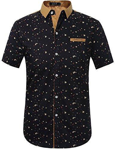 SSLR Men's Printed Button Down Casual Short Sleeve Cotton Shirts (4X-Large, Blue) (Dress 4x Shirts Mens)