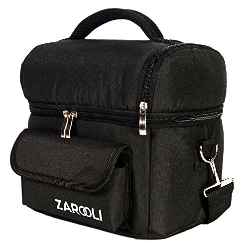 Lunch Cooler Bag For Women and Men By Zarooli: Black Double Deck Tote Bag With Front Pocket – Thermal Picnic Bag With Double Insulation - Comes With A Healthy Sandwich (Deluxe Expandable Shoulder Tote)