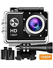 Action Camera, 12MP 1080P 2 Inch LCD Screen, Waterproof Sports Cam 120 Degree Wide Angle Lens, 30m Sport Camera DV Camcorder with with 2 Rechargeable Batteries and Mounting Accessories Kit K-100
