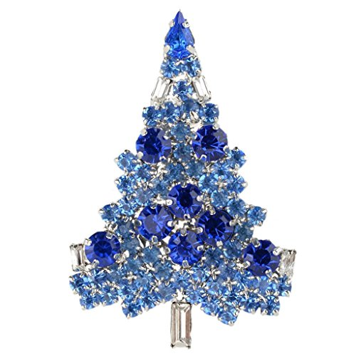 Crystal Tree Austrian Christmas - EVER FAITH Art Deco Christmas Tree Silver-Tone Brooch Blue Sapphire Color Austrian Crystal