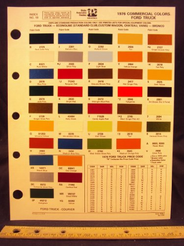 1976 FORD Truck, Econoline Van (Standard Club, Custom Club, Chateau), & Bronco Paint Colors Chip Page