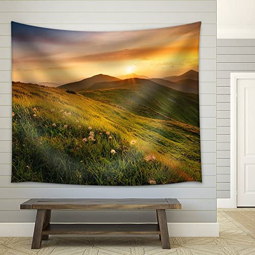 Mountain Field During Sunset Beautiful Natural Landscape Fabric Wall