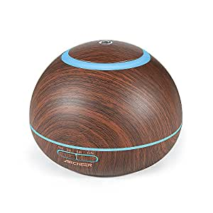 Aroma Diffuser, ARCHEER 300ML Wood Ultrasonic Oil Diffuser Cool Mist Whisper-Quiet Humidifier with Color LED Lights Changing & 4 Timer Settings, Waterless Auto Shut-Off for Spa Baby