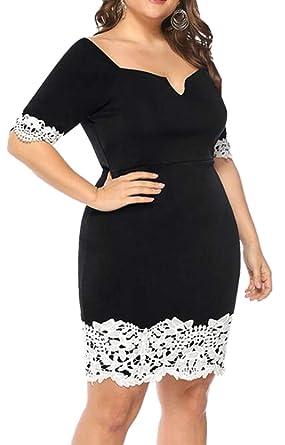 YYear Women Short Sleeve Plus Size Lace Stitch Bodycon ...