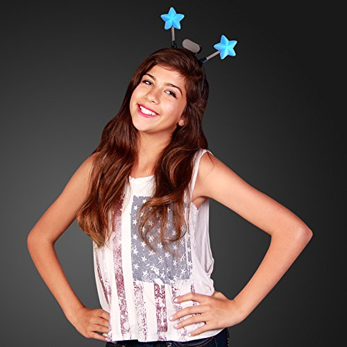 FlashingBlinkyLights Light Up Blue Star Head Boppers Headband -