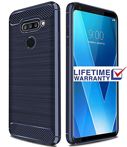 LG V40 ThinQ Case, LG V40 Case, Asmart Shock Absorption Case LG V40 ThinQ Slim Carbon Fiber Cover Flexible TPU Protective Phone Case LG V40 ThinQ 2018 (Blue)