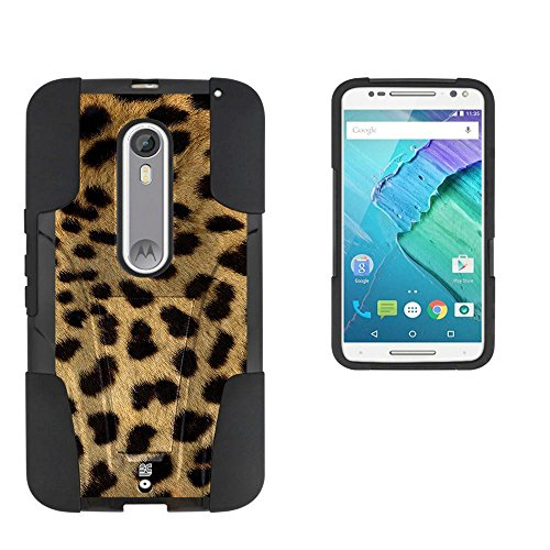 Spots8® Image Design Cases for Motorola Moto X Pure Edition Style (2015), Shell Case with kickstand & Graphic [Cheetah Print]
