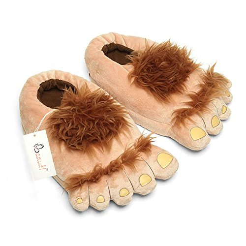 Hobbit Costumes Feet (Ibeauti Men's Big Feet Furry Monster Adventure Slippers, Comfortable Novelty Warm Winter Hobbit Feet Slippers for Adults(US 11,Brown))