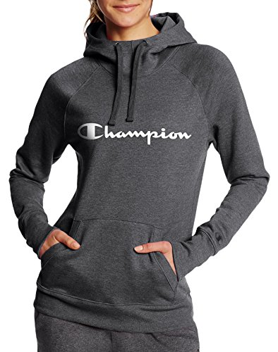 Champion Women's Fleece Pullover Hoodie, Granite Heather Script, L