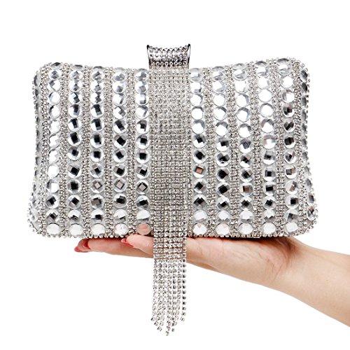 Blue Del De Mujeres Monedero Bolsos Silver Noche Crossbody Diamante Los Bolso Las color Pollusui Embrague q1xawHOn