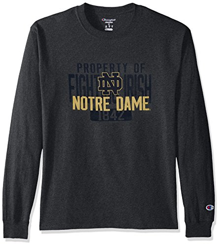 Champion NCAA Men's Long Sleeve Lightweight T-shirt Officially Licensed 100% Cotton Tagless Tee Notre Dame Fighting Irish X-Large