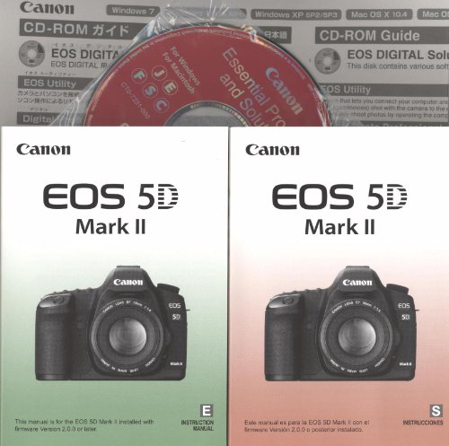 Canon EOS 5D Mark II Original instruction manuals with Pocket Guides in English/Spanish with CD (Telescope Canon)