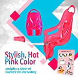 Bike on Hike Pink Bike Doll Carrier Seat - Cute Ride Along Attachment for Baby Dolls & Stuffed Animal w/Stickers - DIY Toy Accessories for Girls