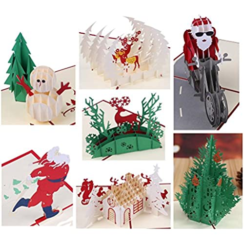 3D Christmas Cards Papercraft 7 Pack Pop Up Greeting Cards Sales