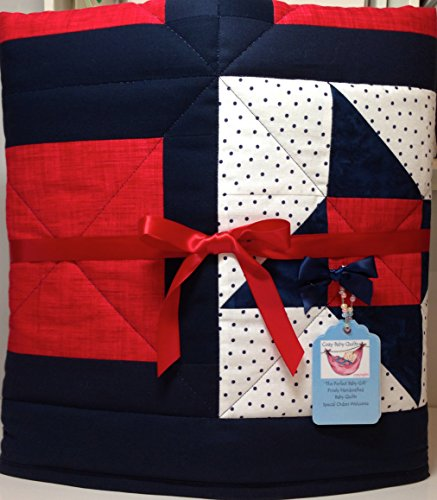 Red White and Blue Patriotic Handmade Baby Quilt by Cozy Baby Quilts - Handmade Baby Quilts