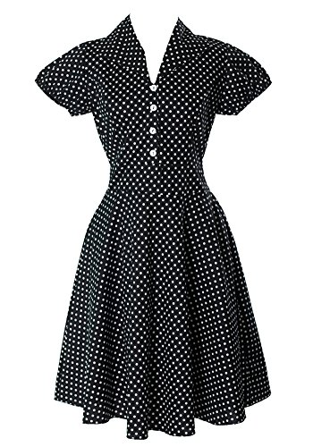 Sidecca-Retro-1950s-Vintage-Mini-Polka-Dot-Housewife-Collar-Swing-Dress