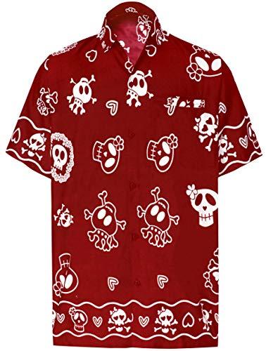LA LEELA Mens Beach Hawaiian Shirt Button Down Short Sleeve Red_W190 Small]()