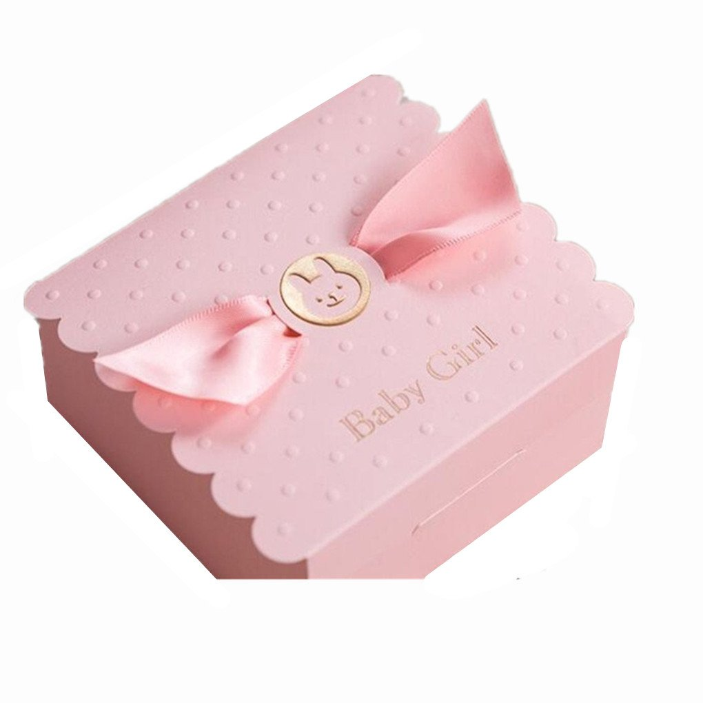 Lovely Pink Party Invitations for Girl Baby Shower with Cute Baby Car Free Pink Wedding Favours Candy Boxes Gift Box. (20 Pieces)