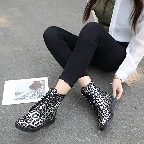 Garder Chaud Bout Nouveau Femmes Imprimé Rond Carrés Pour Femme Noir À 2018 Talons Léopard Chaussures Chaussure Automne Bottines Au Hiver Chic Martain Ffnqa
